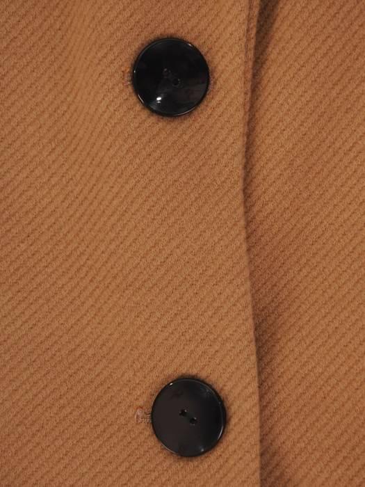 Klasyczny, flauszowy płaszcz damski w kolorze beżowym 26903