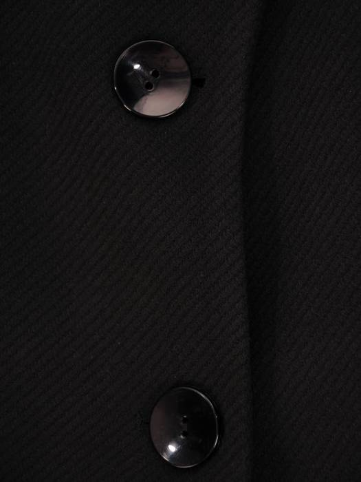 Klasyczny, flauszowy płaszcz damski w kolorze czarnym 26904