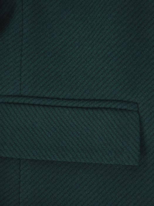 Klasyczny, flauszowy płaszcz damski w kolorze zielonym 26902