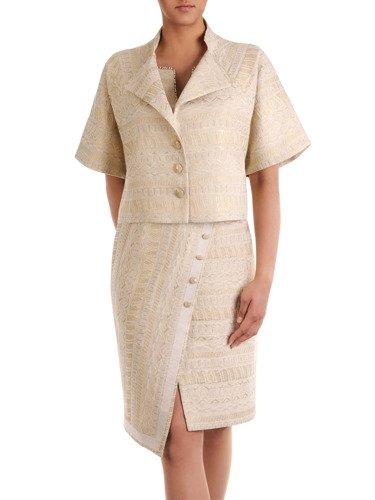 Kolekcja 28375, asymetryczne sukienki i elegancki połyskujący żakiet wraz ze spódniczką