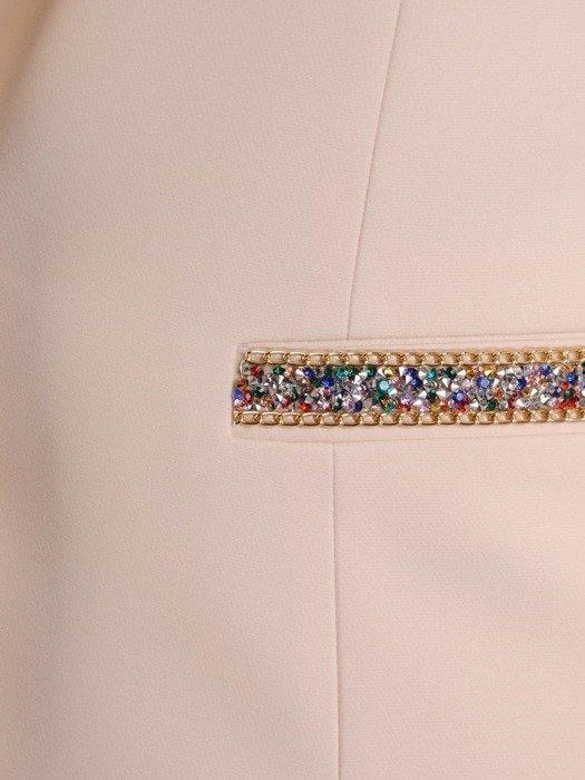 Kolekcja 28519 - kremowy żakiet i spodnie cygaretki