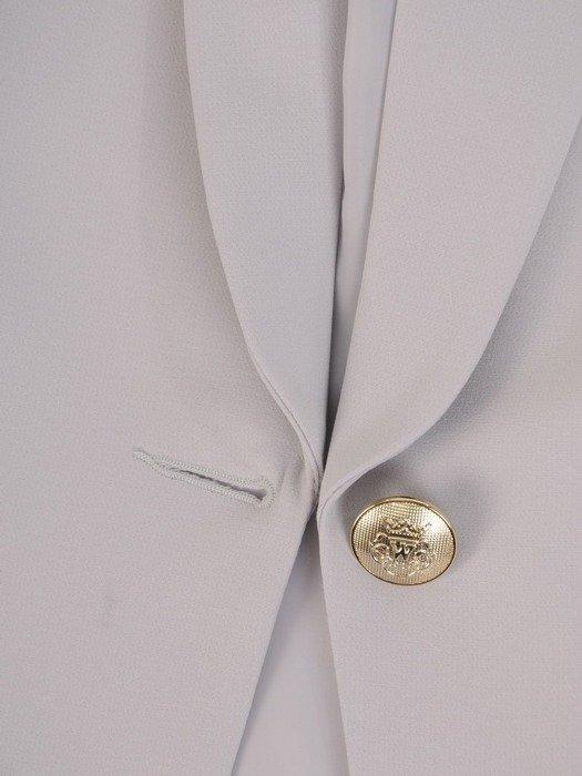 Kolekcja 28520 - szary żakiet z ozdobnymi kieszeniami i spodnie cygaretki