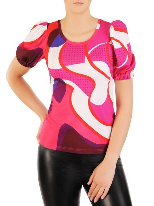 Kolorowa bluzka z bufiastymi rękawami 30059