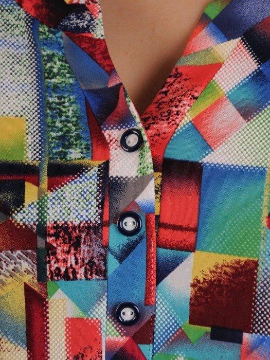 Kolorowa bluzka z guzikami przy dekolcie 25007