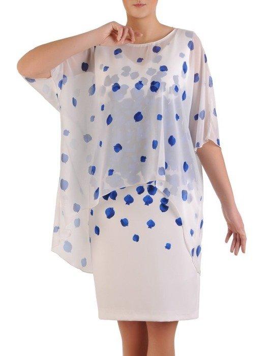Komplet damski 2w1, biała sukienka z luźną szyfonową narzutką 25574