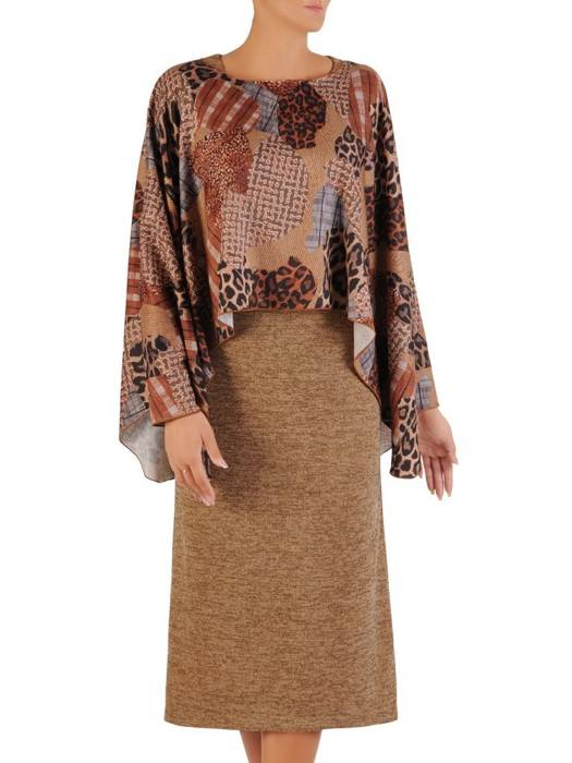 Komplet damski 2w1, dzianinowa sukienka z luźną narzutką 27183