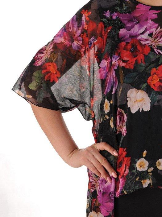 Komplet damski, czarna sukienka z luźną szyfonową narzutką 19974.