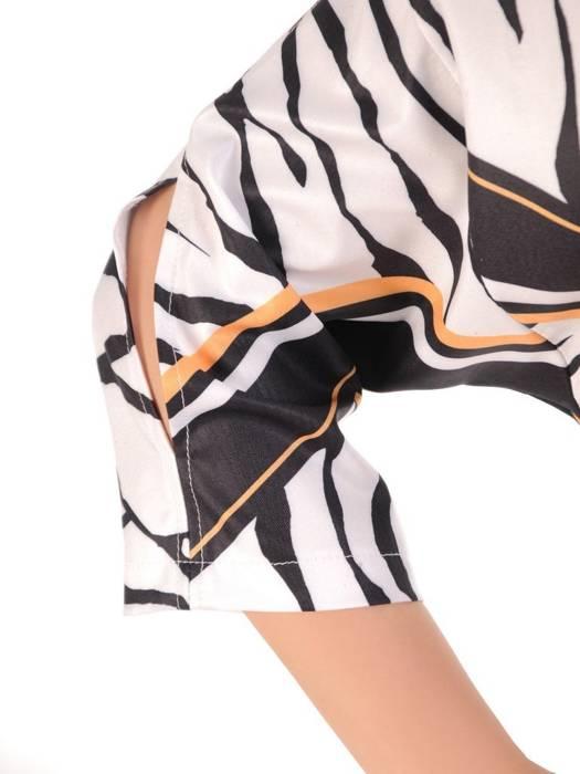 Komplet damski, dzianinowe spodnie z wzorzystą bluzką 29406