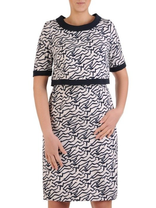 Komplet damski, prosta sukienka z krótkim bolerkiem 25480