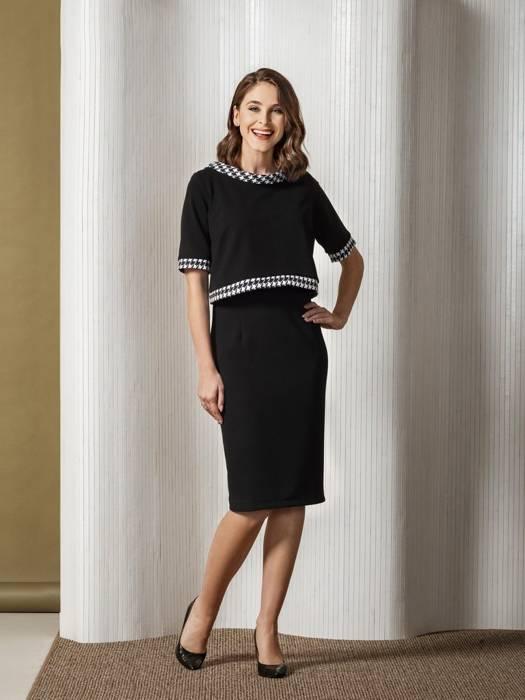 Komplet damski, prosta sukienka z krótkim bolerkiem 27471