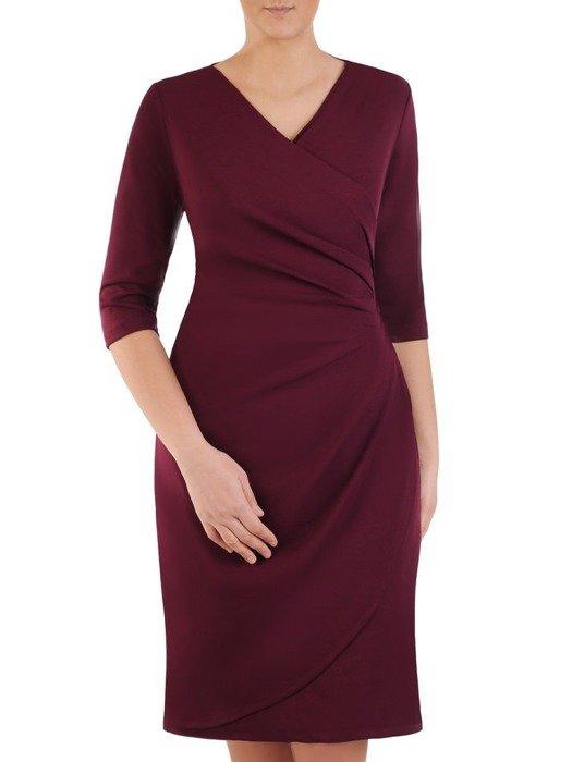 Kopertowa fioletowa sukienka, modna kreacja z dzianiny 24853