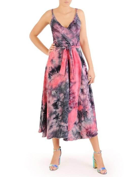 Kopertowa sukienka midi, kreacja z regulowanymi ramiączkami 30275