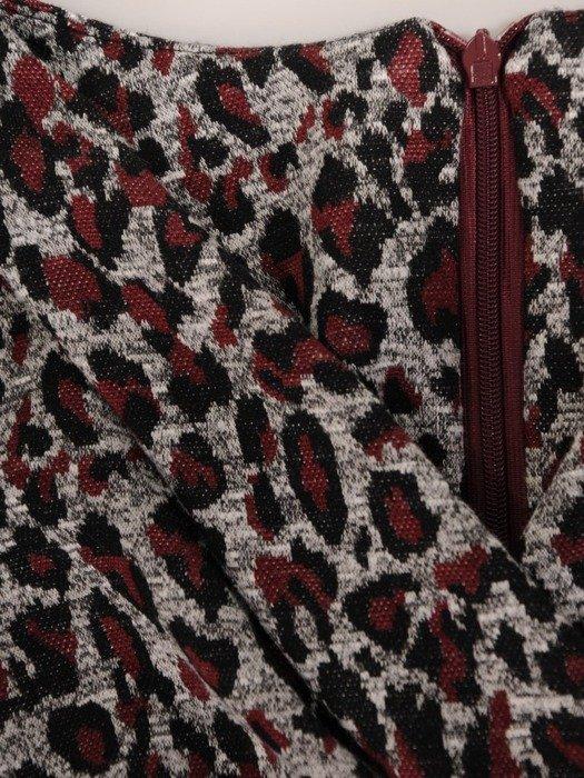 Kopertowa sukienka z dzianiny, kreacja z ozdobnym wiązaniem 24567