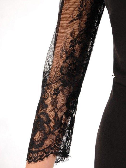 Kopertowa sukienka z koronkowymi rękawami, stylowa mała czarna 24238