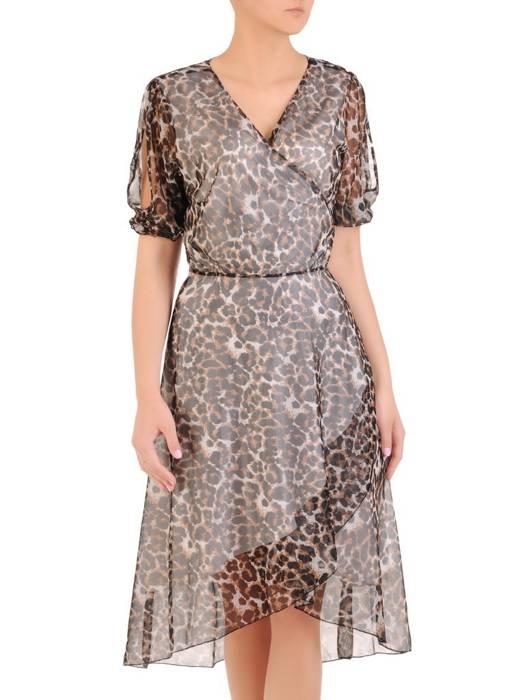 Kopertowa sukienka z ozdobnymi rozcięciami na rękawach 29939
