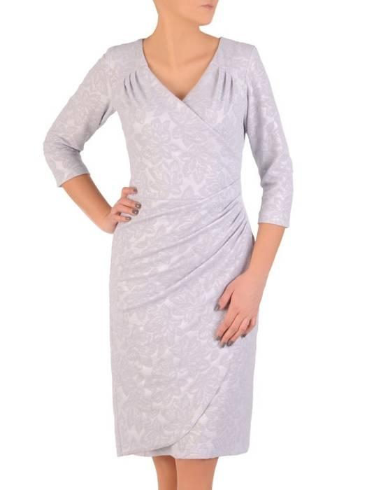 Kopertowa sukienka z wytłaczanej dzianiny 28558