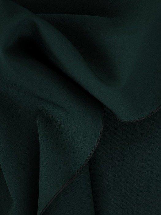 Kopertowa zielona sukienka, kreacja z modnym żabotem 25064