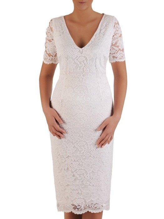 Koronkowa sukienka wizytowa, kreacja w kolorze ecru 22565