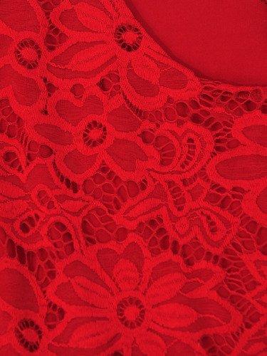 Koronkowa sukienka z rozkloszowanym dołem Izolda IV, czerwona kreacja na wieczór