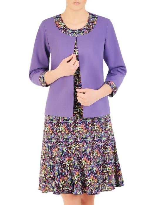 Kostium damski, wzorzysta sukienka z gładkim żakietem 29910