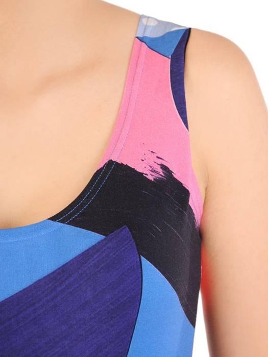 Letnia sukienka z bawełny, prosta kreacja w kolorowe wzory 30083