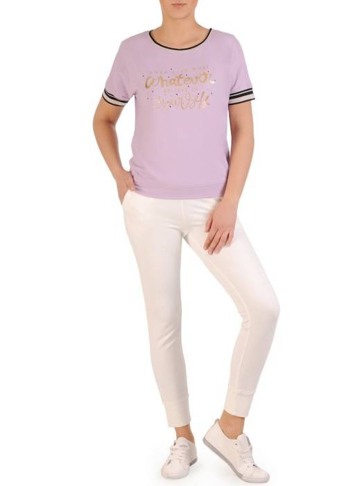 Liliowa bluzka damska z ozdobnym napisem 29655