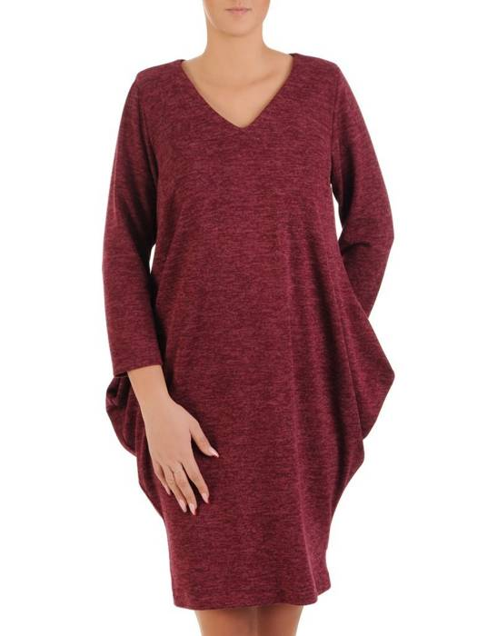 Luźna, bordowa sukienka maskująca wszelkie niedoskonałości 27958
