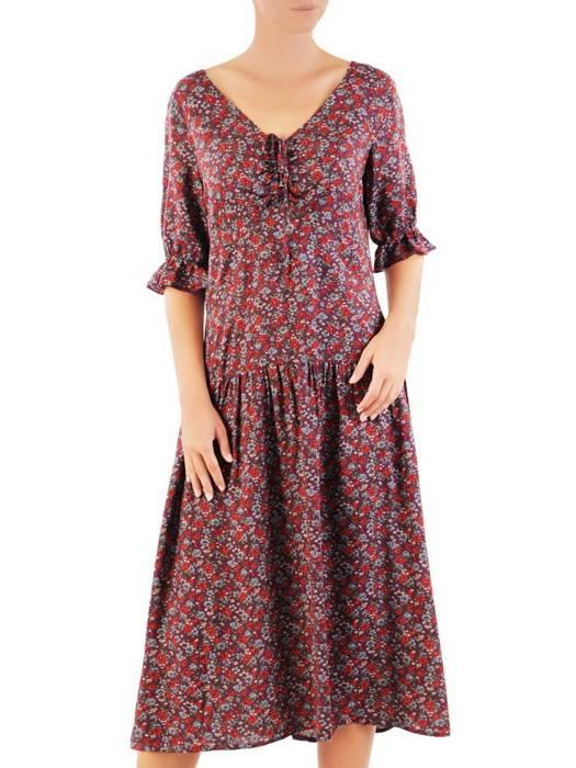 Luźna sukienka na lato, kreacja z ozdobnym wiązaniem 30492