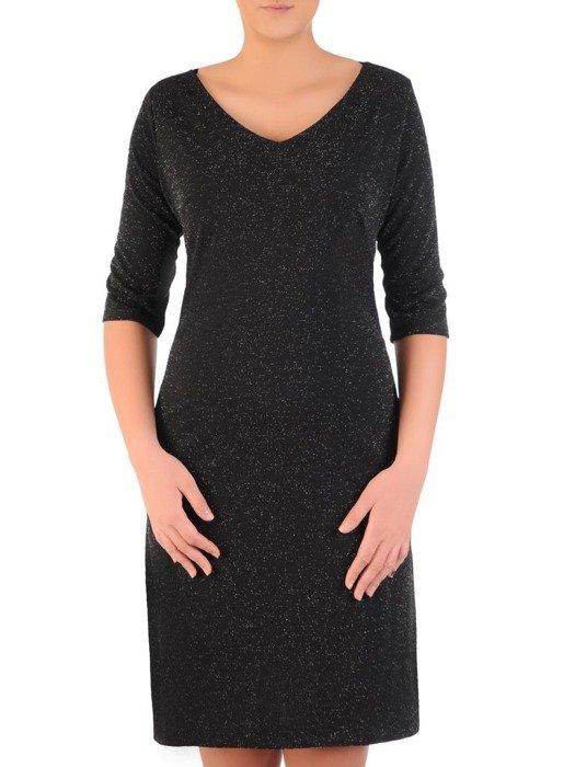 Luźna sukienka z kieszeniami, kreacja z połyskującej dzianiny 22658
