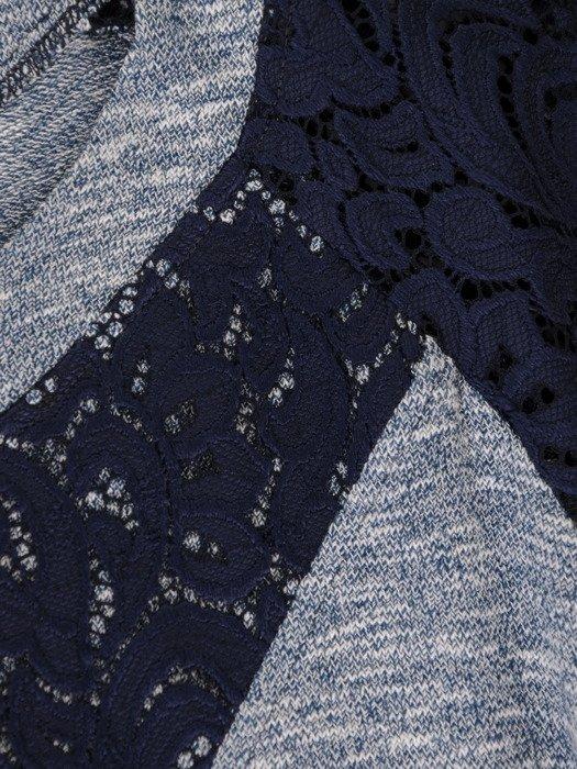 Melanżowa bluzka z koronkowym wykończeniem 18167.