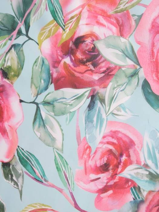 Miętowa sukienka w kwiaty, luźna kreacja z szyfonu 29999