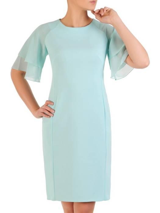 Miętowa sukienka wizytowa, kreacja z ozdobnymi rękawami 29851