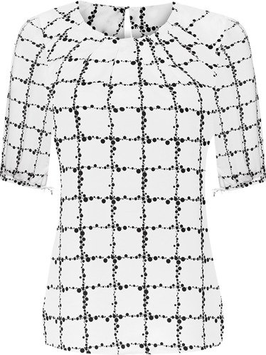 Modna bluzka w drobne, czarne groszki Marcela.
