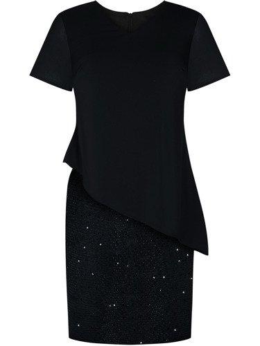 Modna sukienka wizytowa Benedykta IV, czarna kreacja na wesele.
