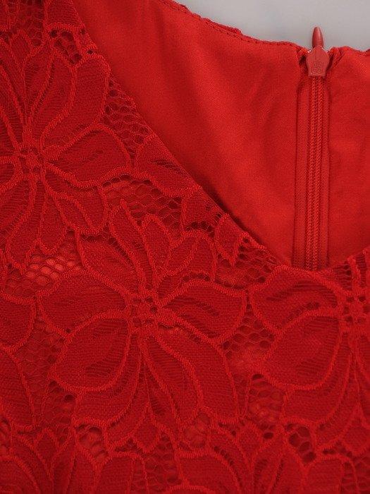 Modna sukienka z koronki 16914, czerwona kreacja na wesele.