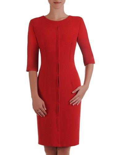 Modna sukienka z ozdobną, wyszczuplającą listwą Janeta VI.