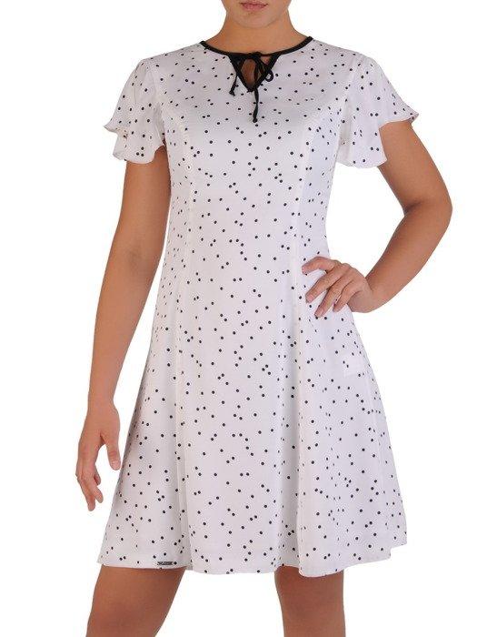 Modna sukienka z wiązaniem na ozdobne tasiemki 17216.