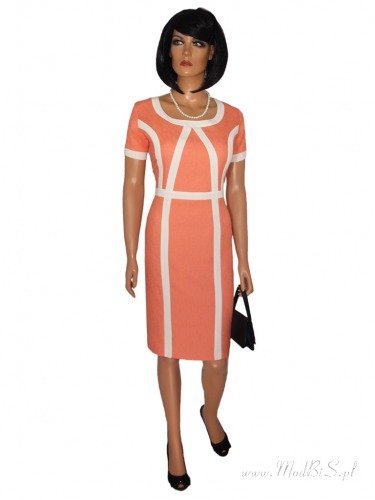 Nowoczesna sukienka ozdobiona kontrastowymi lamówkami Klara II