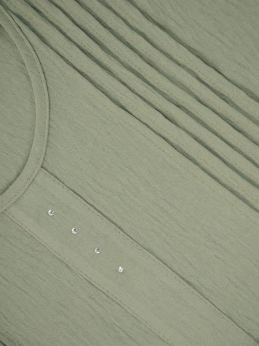 Oliwkowa, kreszowana sukienka z ozdobnymi przeszyciami 28969