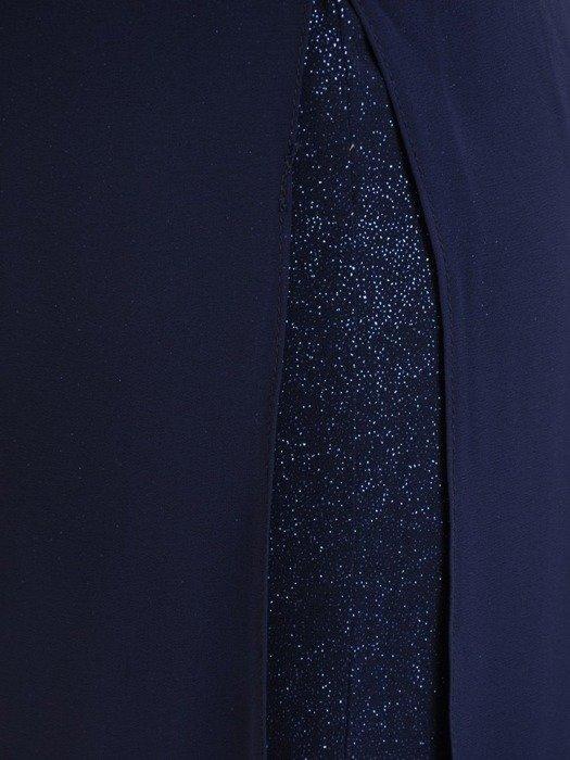 Oryginalna wizytowa sukienka, granatowa kreacja z półgolfem 26778