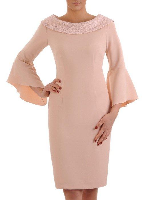 Pastelowa sukienka z koronkowym kołnierzem i szerokimi rękawami 19615