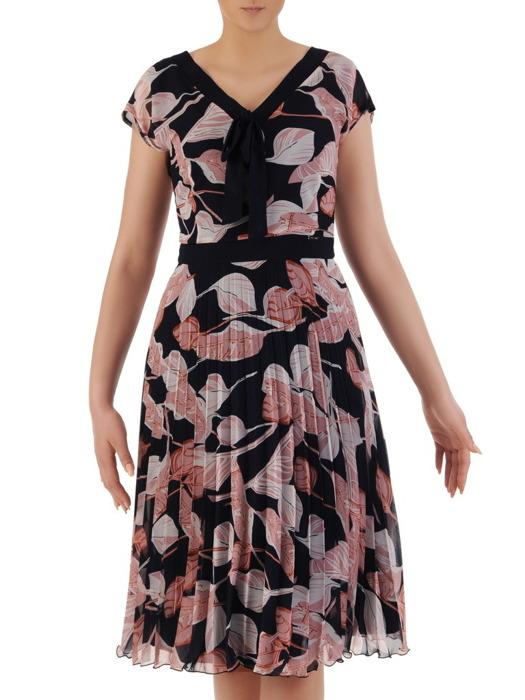 Plisowana sukienka w elegancki, roślinny wzór 20851