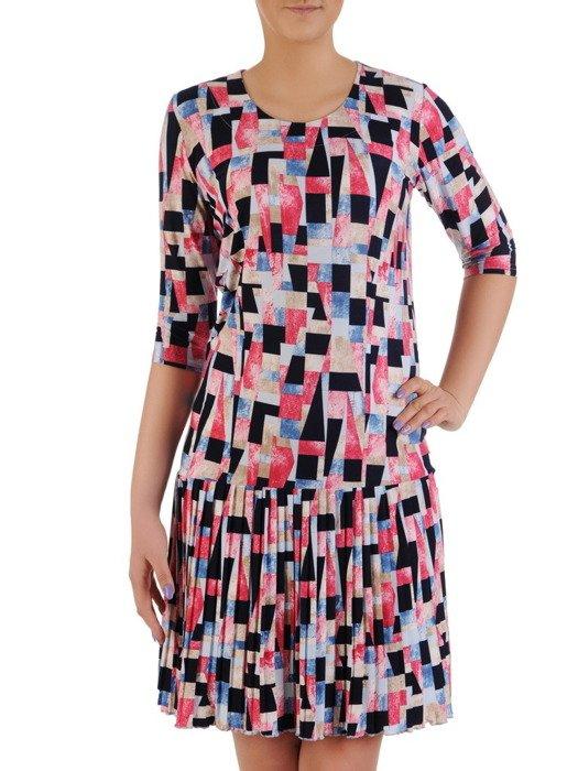Plisowana sukienka w geometrycznym wzorze, kreacja z bawełny 19970