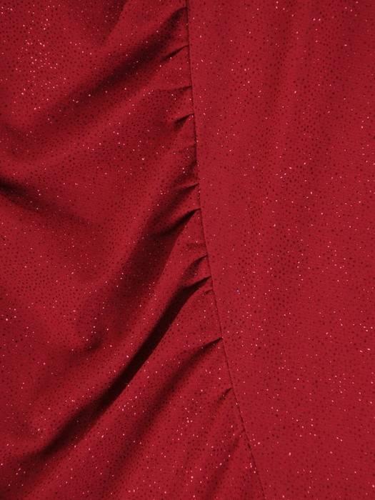 Połyskująca, bordowa sukienka z marszczeniem w pasie 26920