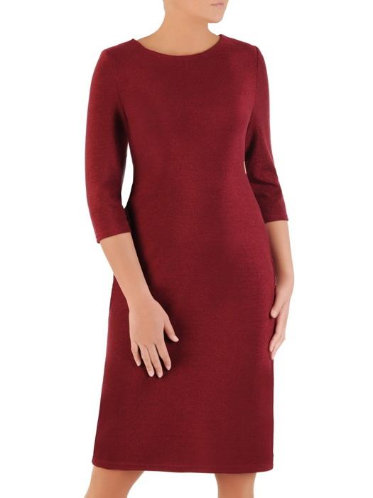 Połyskująca sukienka w nowoczesnym fasonie, niebieska kreacja na jesień  22184.