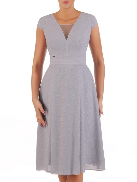 Popielata sukienka na wesele, nowoczesna kreacja wykończona brokatem 21716