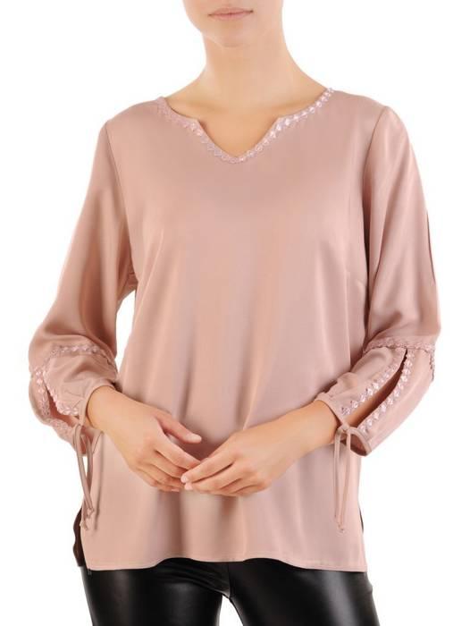 Prosta bluzka damska z oryginalnym wykończeniem rękawów 30498