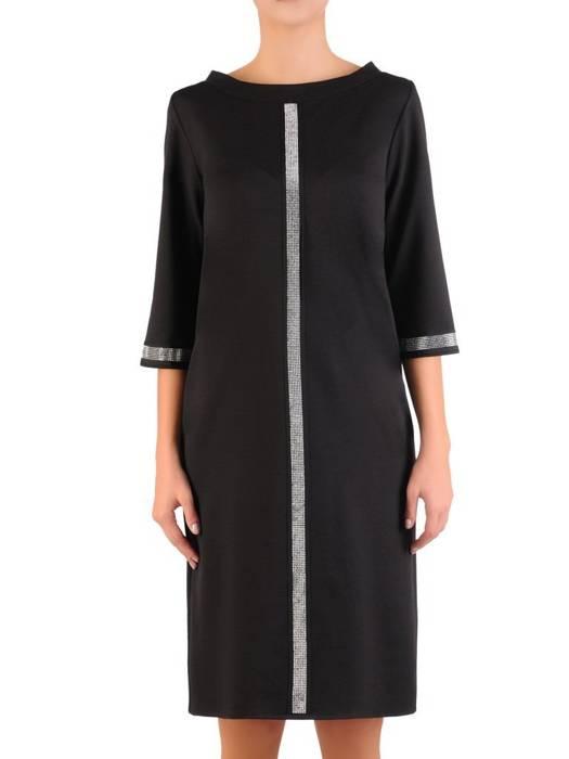 Prosta czarna sukienka z połyskującymi wstawkami 27075