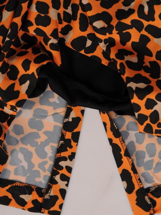 Prosta sukienka w cieniowane cętki, modna kreacja bez rękawów 20526