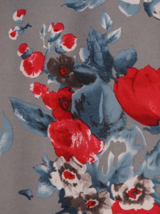 Prosta sukienka w kolorowe kwiaty, modna kreacja wyszczuplająca 16879
